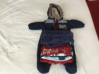 Pram suit blue 6-9 months from next 3 long sleeved tops and jumper