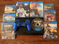 Sony PS4 black console 500GB and 9 games