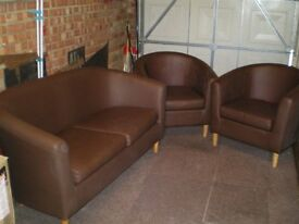 Tub sofa and two chairs for sale