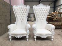 2x BRAND NEW Pretoria King Throne Chairs (180cm) - White Wedding Luxury French Italian Furniture