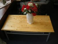 PINE TOPPED METAL FRAMED COFFEE TABLE at Haven Housing Trust's charity shop