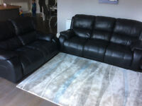 Leather Sofas, 3 seater with recliners and 2 seater