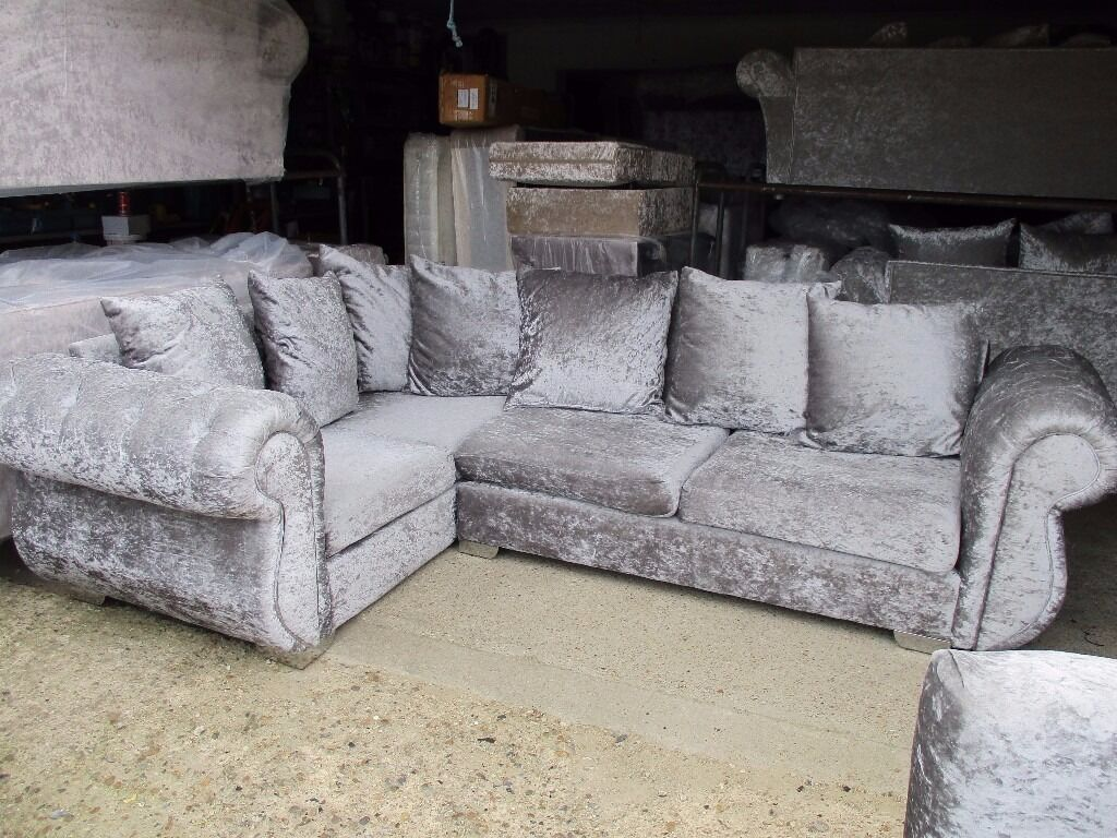 Silver Crushed Velvet Corner Sofa With Swivel Chair Silver