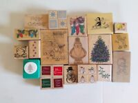 Job Lot - 95 x Wooden Backed Rubber Stamp Card Making, Scrapbooking, Arts & Crafts