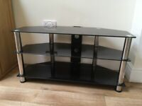 TV stand - black glass, silver legs ** Good condition ** (PRICED FOR QUICK SALE)