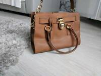 Genuine brown leather MK Michael Kors handbag