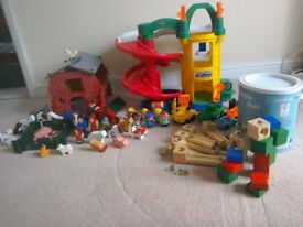 Wooden farm set, fisher price garage set and elc marble run