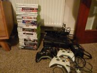 Xbox 360 console with kinect/ 4 controllers/ 29 games