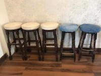 5 x old tall pub stools