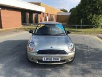 2008 mini one 1.4 petrol 12 months mot/3 months parts and labour warranty