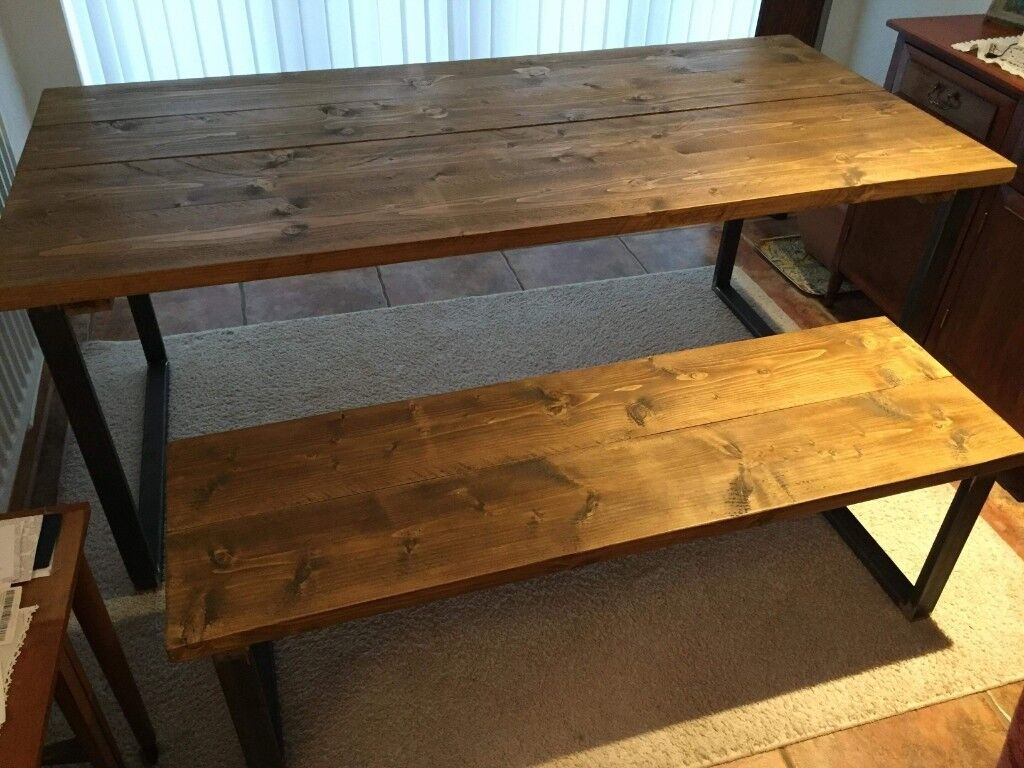 Industrial Style Dining Table And Bench Set In Minehead Somerset