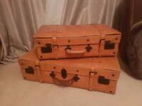 Pair of large 100% leather suitcases. In good condition.