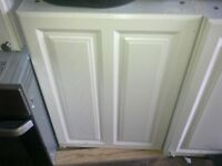 kitchen units.wall and base.work tops, oven,sink,gas hob.all in good clean order.400 pounds