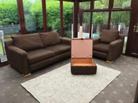 Dfs Fabric 3 Seater Sofa + Armchair Good Condition Delivery Possible