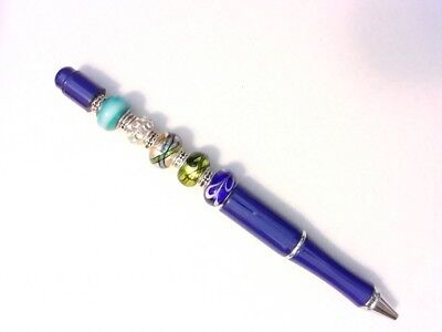 Fancy Artistic Pen - Lampwork Beads - Customizable by You - Blue, Green - Customizable Pens