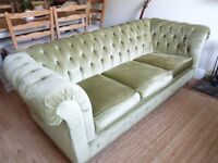 Vintage Green Velvet Chesterfield / Button Back Sofa Bed. RARE & BEAUTIFUL
