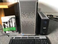 HP Proliant ML350p Gen8 server (Intel Xeon E5-2603v2 8GB) with APC Back-UPS Pro900 battery pack