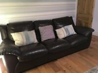 Brown leather 3 seater and matching 2 seater sofas