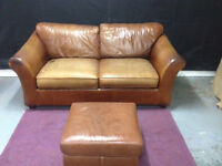 Genuine used leather brown marks and spencers 2 seater sofa