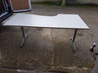 Herman Miller Corner Workstation Desk Light Grey Finish Metal Adjustable #208
