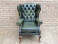Antique Green Leather Chesterfield Armchair (UK Delivery possible)