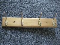 Wooden Coat Rack with Four Metal Hooks