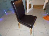 2 Dining Chairs high Back Brown Faux Leather
