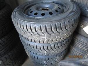 185/60R15 SAILUN SET OF 4 USED WINTER TIRES ON STEEL RIMS FOR FORD FIESTA