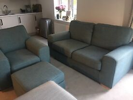 2 seater sofa, armchair and storage footstall