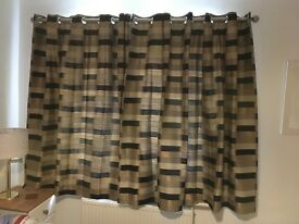 Pair of quality curtains with brackets and poles