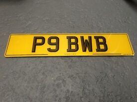 **private plate - P9 BWB**