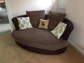Brown Corner sofa, foot stall and 2 seater cuddle chair