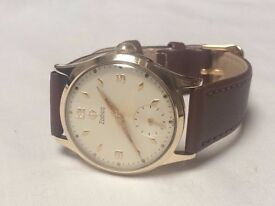 Vintage gents 9k 9ct solid gold Zodiac mens swiss watch (great condition) REDUCED