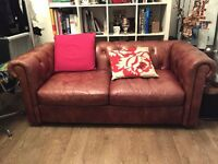 Tan Leather 2 seater Chesterfield style sofa