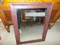 Leather framed overmantel mirror