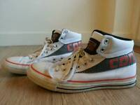 CONVERSE ALL STAR HI TOP TRAINERS, UK 8, WHITE, RARELY USED, UNISEX