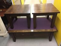 Dining Table & 6 Leather Chairs, Coffee Table & Two Side Tables - Good Condition
