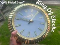 Rolex wall clock gold fluted bezel - datejust submariner gmt Daytona