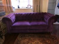 Chesterfield 3 seater sofa and foot stool
