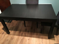 IKEA - BJURSTA Brown-black Extendable Kitchen Table Only - No Chairs. Seats 4 - 6 People