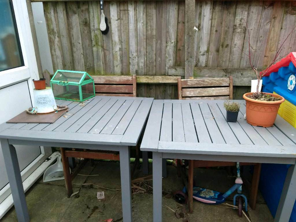wooden outdoor furniture painted. 2 Wooden Garden Table\u0027s With 4 Chairs - Painted In Grey/blue Need Outdoor Furniture