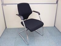 34 QUALITY OFFICE MID-BACK CANTILEVER ARMCHAIRS possibly Orangebox Giroflex PURPLE, BLACK OR LILAC
