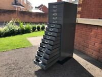 Bisley 15 draw filing cabinet storage unit garage storage shed for nuts and boltS