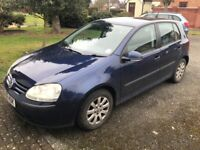 VW Golf, blue, 119,000 miles, MOT June 2018, reliable great first car