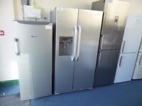 EX-DISPLAY STAINLESS STEEL HOTPOINT AMERICAN STYLE FRIDGE FREEZER W/ ICE WATER DISPENSER REF: 11622