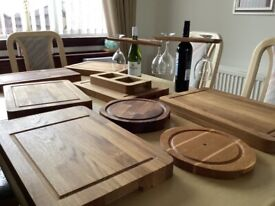 Chopping boards,cheese boards, nibbles tray,wine and glass holder