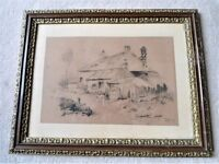 "Drawing Of Country Cottage, Signed By Artist, Framed With Glass (13.5"" W x 17"" L)"