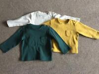 M&S x3 long sleeved t-shirts, size 12-18 months