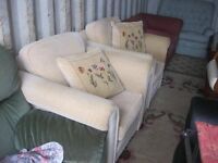 PAIR MATCHING MODERN LIGHT BEIGE ARMCHAIRS. WIDE SEATED. VERY COMFORTABLE. VIEW/DELIVERY AVAILABLE