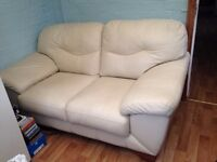DFS CREAM LEATHER 2 SEATER SOFA